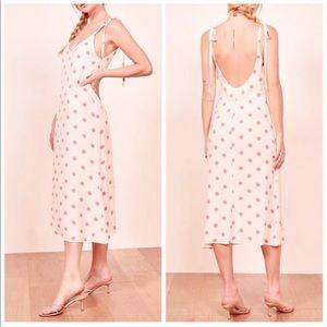 REFORMATION Jade Dot Tie Shoulder Midi Dress